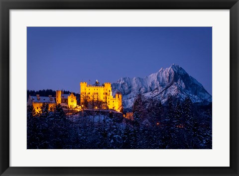 Framed Hohenschwangau Castle in the Bavarian Mountains Print