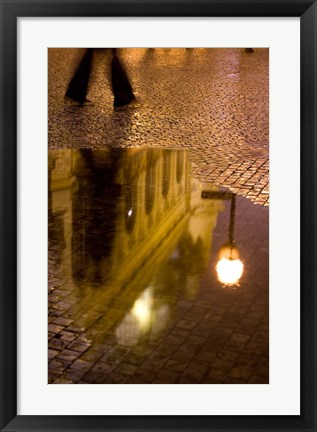 Framed Municipal House Reflection, Czech Republic Print