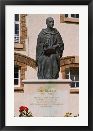 Framed Courtyard Statue, Reims, Champagne Print