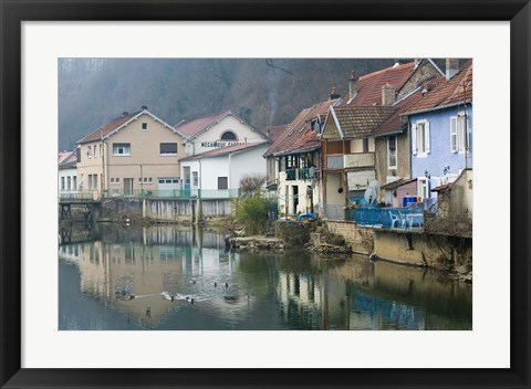 Framed Doubs River Valley, Canal Town, France Print