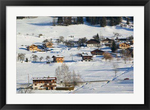 Framed Ski Village in Winter, Ski Chateaus Print