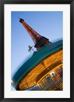 Framed Winter View of the Eiffel Tower and Carousel Print