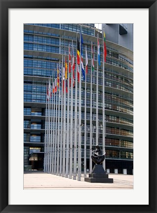 Framed Union Parliament and flags, Strasbourg, France Print