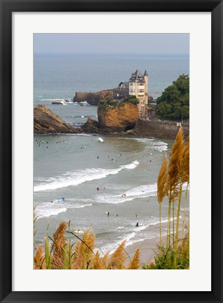 Framed Surfers on the Bay of Biscay, France Print