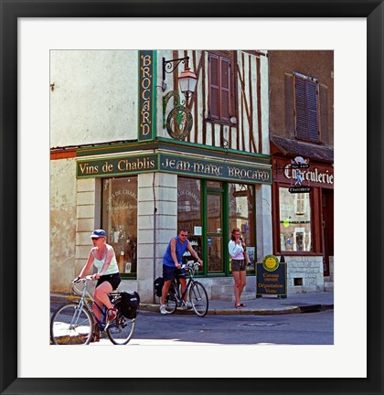 Framed Wine Shop and Cycling Tourists, Chablis, France Print