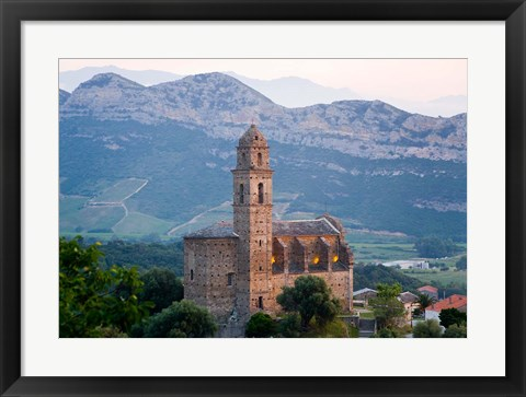 Framed Church in Village of Patrimonio, Corsica, France Print