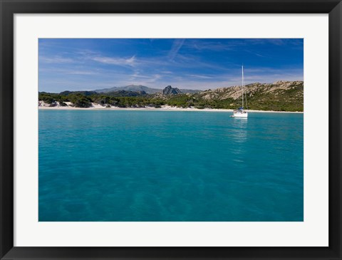 Framed Corsica Sailboat at Saleccio Beach Print