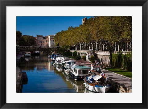 Framed Canal de la Robine by the Cours Mirabeau Print