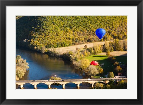 Framed Hot Air Balloon, Chateau de Castelnaud Print