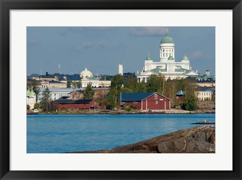 Framed Harbor View, Finland Print