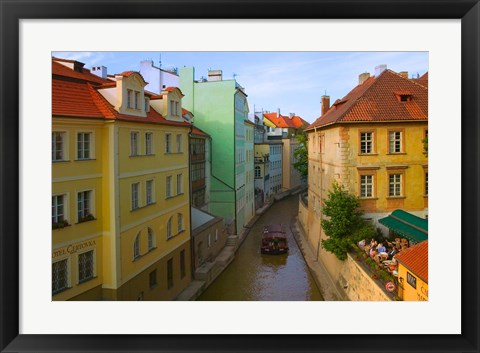 Framed Historical Buildings and Canal, Czech Republic Print