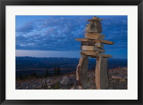 Framed Inukshuk in Ogilvie Mountains Print