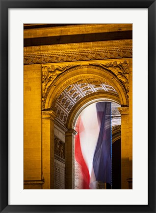 Framed Flag Inside the Arc de Triomphe Print