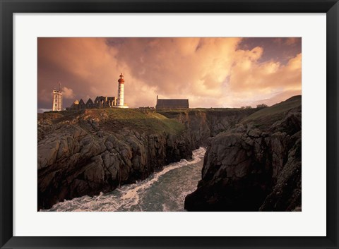 Framed Pointe De St Mathieu Lighthouse at Dawn, Brittany, France Print
