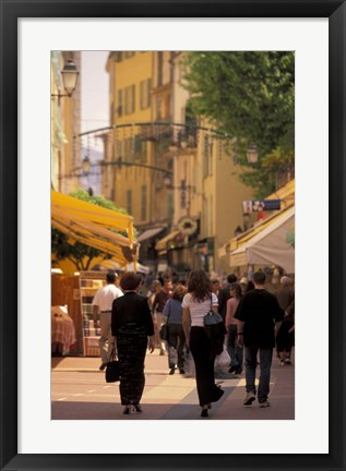 Framed Rue de Republique, Menton, Cote D'Azure, France Print