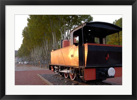 Framed Train Display along Riverbank Print