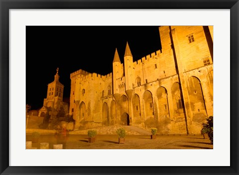 Framed Papal Palace at Night, Avignon Print