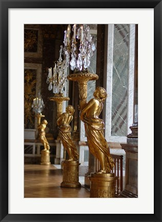 Framed Hall of Mirrors and Gold Statues, Versailles, France Print