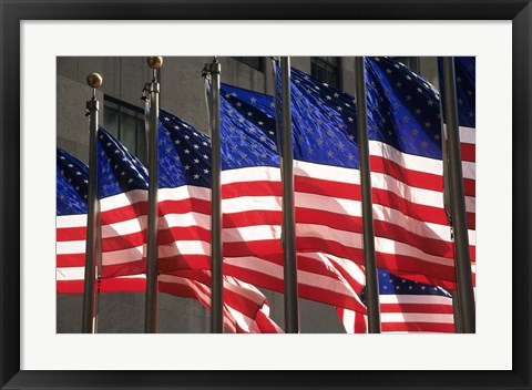 Framed US Flags in Rockefeller Plaza, New York Print