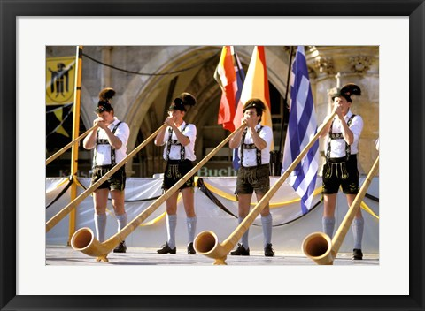Framed Men Playing Alphorn, Munich, Germany Print