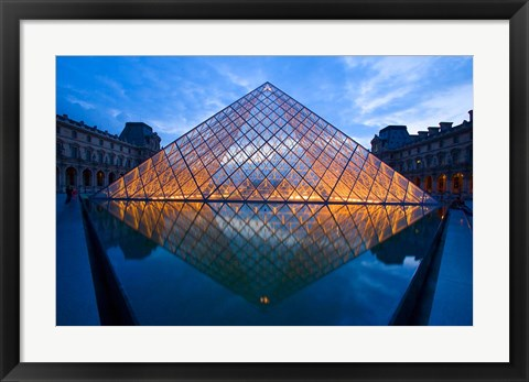 Framed Notre Dame Cathedral at Night Print