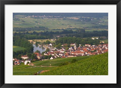 Framed View of Vallee de la Marne River and Vineyards Print