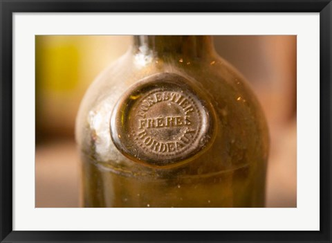 Framed Antique Wine Bottle with Molded Seal Print
