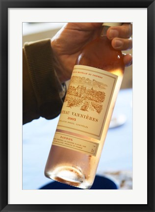 Framed Bottle of Rose Wine, Chateau Vannieres Print