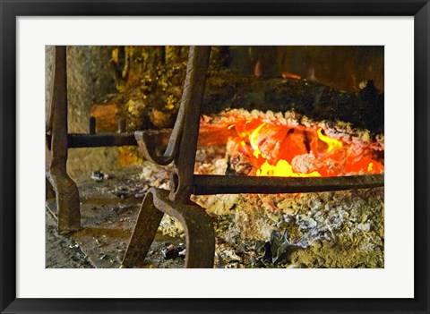 Framed Fireplace with a Burning Log on a Truffle Farm Print