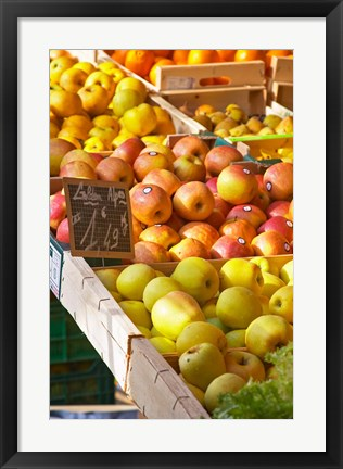 Framed Market Stalls with Produce, Sanary, France Print