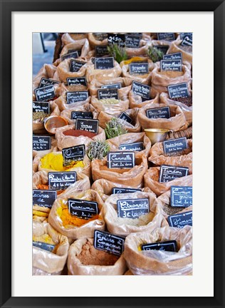 Framed Merchant's Stall of Spices at Street Market Print