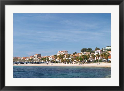 Framed Beach with Palm Trees Along Coast in Bandol, France Print