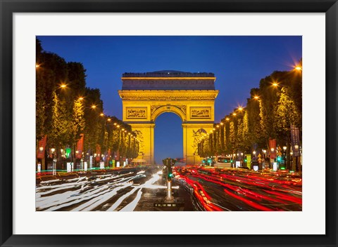 Framed Champs Elysee with Arc de Triomphe at Twilight Print