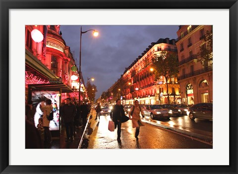 Framed Boulevard Haussmann, Paris, France Print