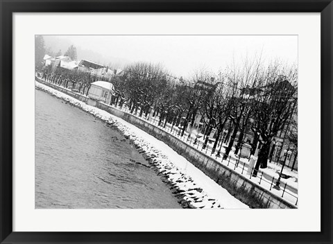 Framed River Salzach in Winter Print