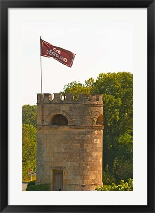 Framed Tower in Vineyard at Chateau Cos d'Estournel, France Print