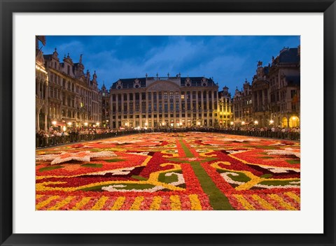 Framed Night View of the Grand Place, Belgium Print