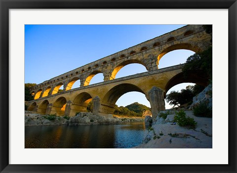 Framed Sunrise Scenic of a Provence Region Town, France Print