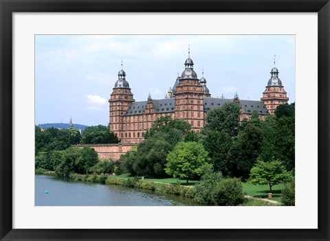 Framed Johannisburg Palace by Rhine River Print