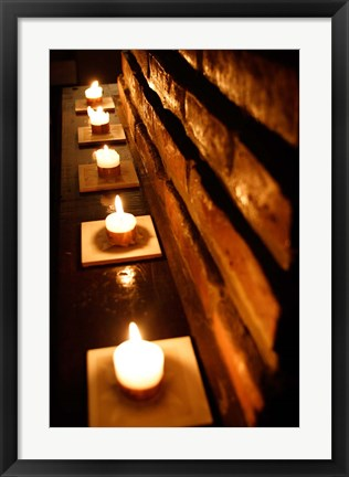 Framed Lighted Candles and Brick Wall Print