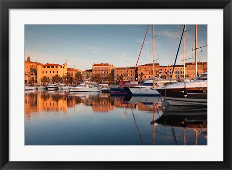 Framed Corsica, France Marina at Sunset Print