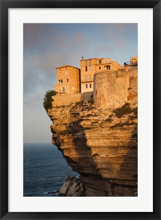 Framed Cliffside Houses at Dawn Print