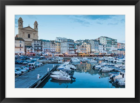 Framed Bastia Port at Dusk Print