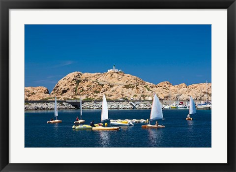 Framed Sailboats in Corsica, France Print