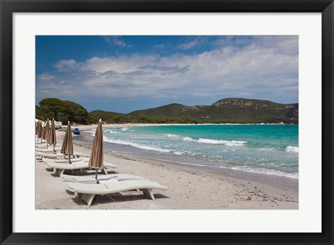 Framed Beach Lounge Chairs Print