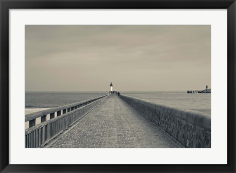 Framed West Jetty in The Port of Calais Print