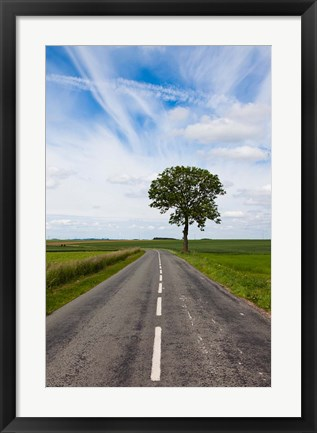 Framed Road through the countryside, Beaumont, Somme, Picardy, France Print