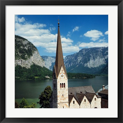 Framed Spire of Hallstatt Church Print