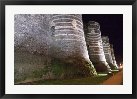 Framed Chateau d'Angers Castle at Night Print