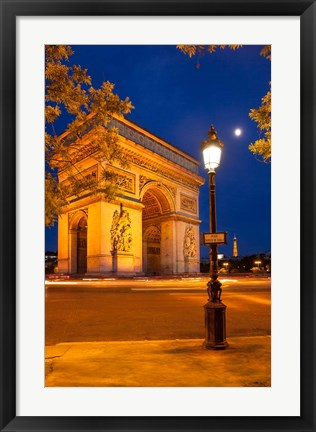 Framed Twilight at Arch de Triomphe, France Print